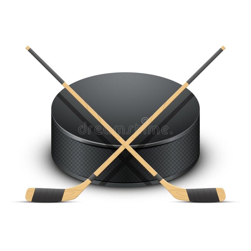 Lodowy Hokejowy krążek hokojowy i kije wektor ilustracji