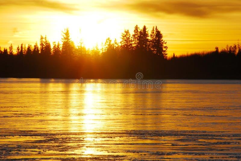 lodowy jeziorny zmierzch obraz royalty free