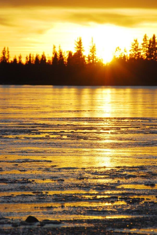 lodowy jeziorny zmierzch zdjęcie stock