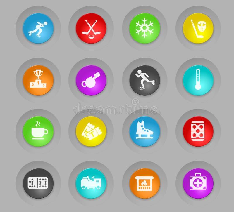 Lodowy lodowisko barwił plastikowego round guzik ikony set ilustracji