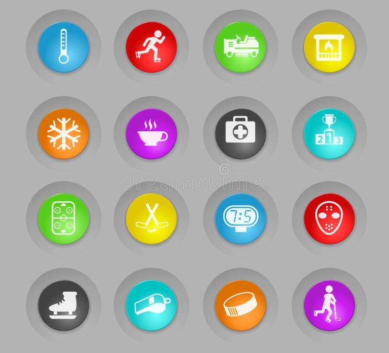 Lodowy lodowisko barwił plastikowego round guzik ikony set ilustracja wektor