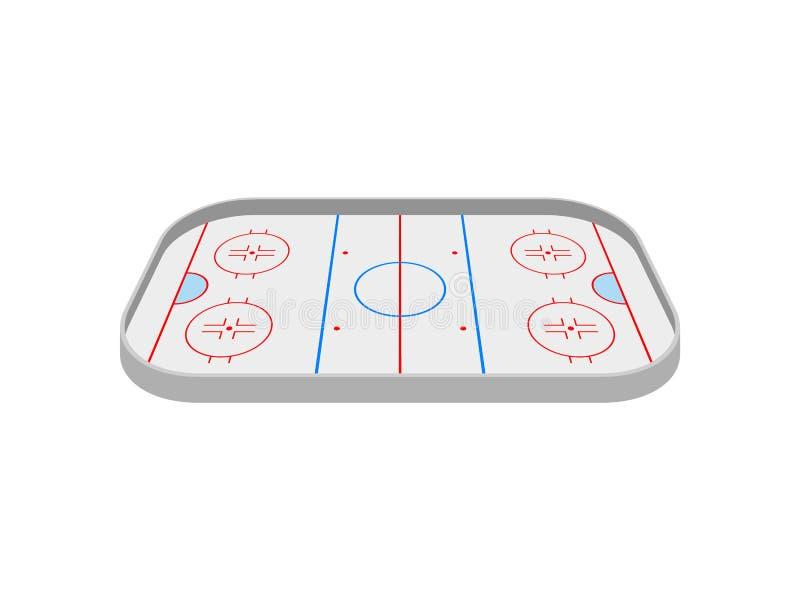 Lodowy lodowisko dla bawić się hokeja na widok t?a ilustracyjny rekinu wektoru biel ilustracji