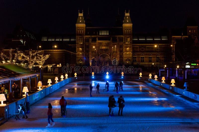 Lodowy lodowisko w Amsterdam centrum obrazy royalty free