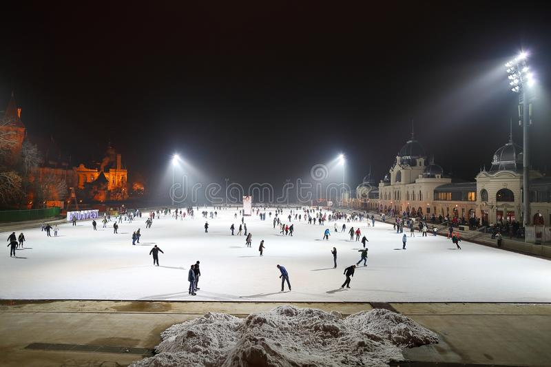 Lodowy lodowisko w Budapest obrazy royalty free