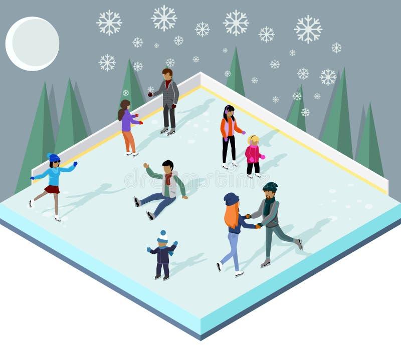 Lodowy lodowisko z ludźmi Isometric stylu ilustracji
