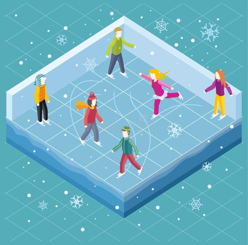 Lodowy lodowisko z ludźmi Isometric stylu ilustracja wektor
