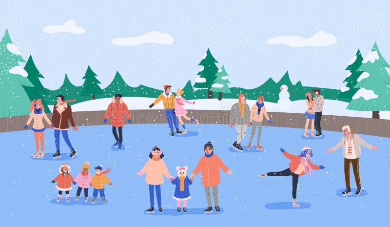 Lodowy lodowisko z różnorodnymi uśmiechniętymi ludźmi jeździć na łyżwach również zwrócić corel ilustracji wektora royalty ilustracja