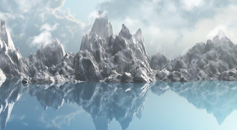 Lodowy pasmo górskie ilustracja wektor