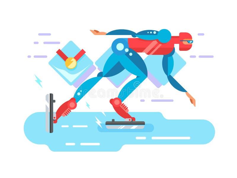 Lodowy prędkości łyżwiarki postać z kreskówki ilustracji