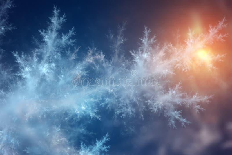 Lodowy wzór z światłem słonecznym na zimy szkle obraz royalty free