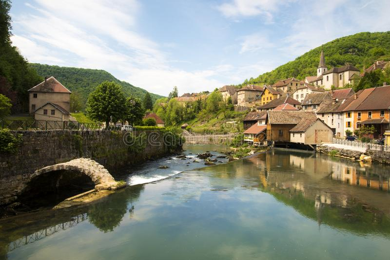 Lods little village in valley of loue stock photography