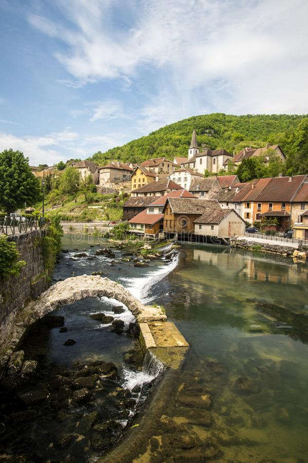 Lods little village in valley of loue stock photo