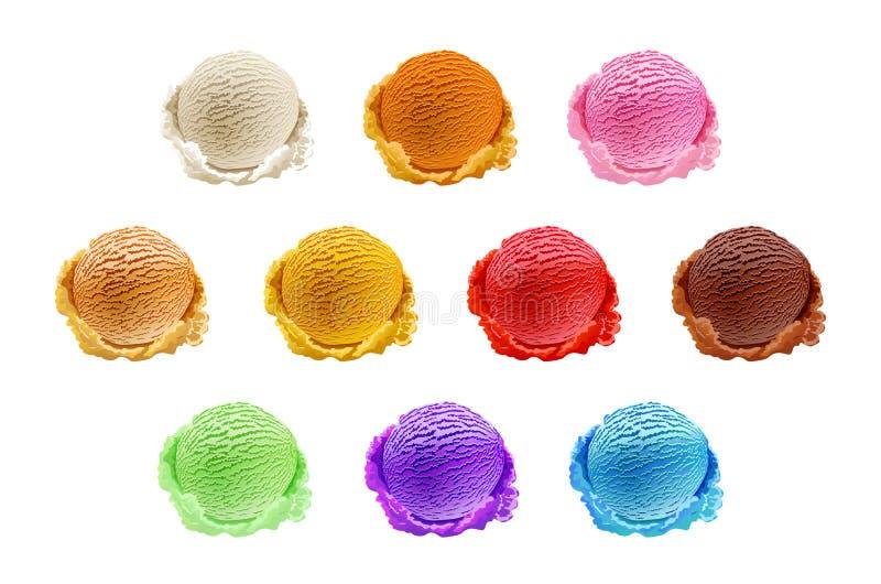 Lody łyżkuje 10 set różni kolory i smaki z jagod, dokrętek i owoc dekoracją odizolowywającą na białym tła vec, ilustracji