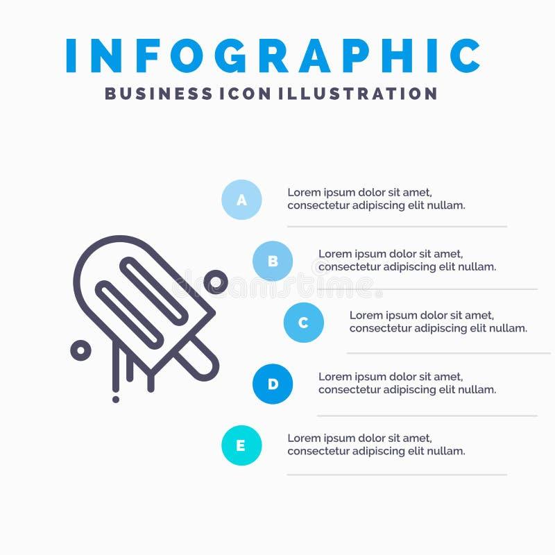 Lody, śmietanka, amerykanin, Usa Wykłada ikonę z 5 kroków prezentacji infographics tłem ilustracja wektor