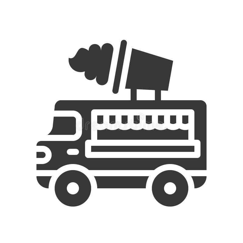 Lody ciężarowy wektor, jedzenie bryły stylu ciężarowa ikona ilustracja wektor