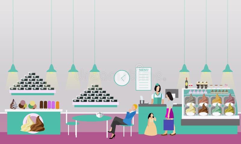 Lody cukierniana wewnętrzna wektorowa ilustracja Projekt sklep z kawą, piekarnia, restauracja i bar, Ludzie kreskówki w mieszkani royalty ilustracja