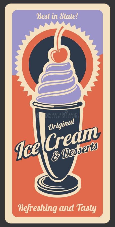 Lody deser, retro wektorowy plakat ilustracja wektor