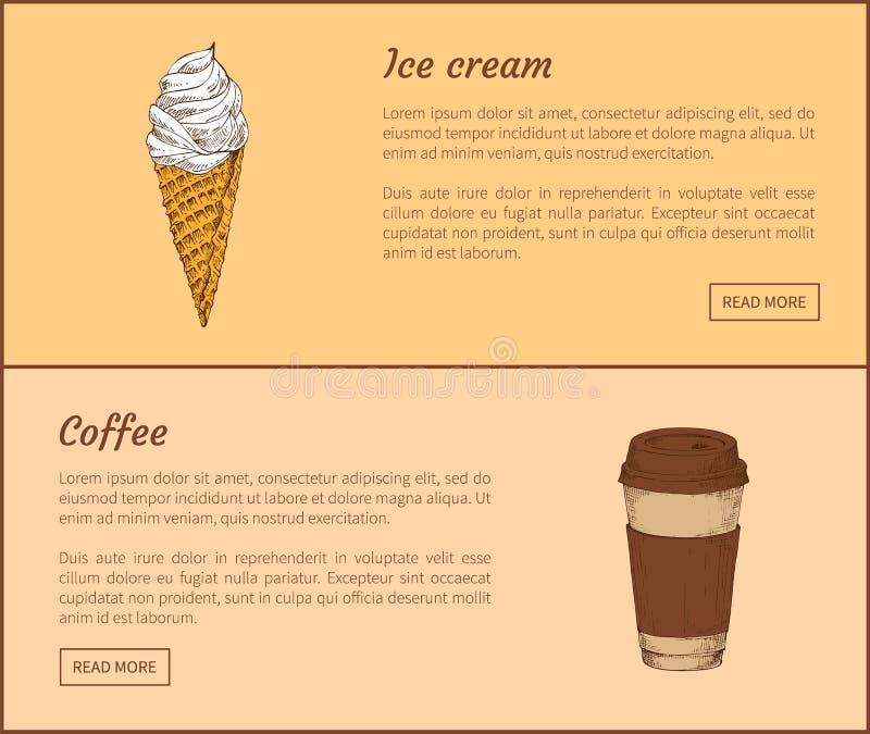 Lody i kawa w filiżanka wektoru ilustracji ilustracja wektor