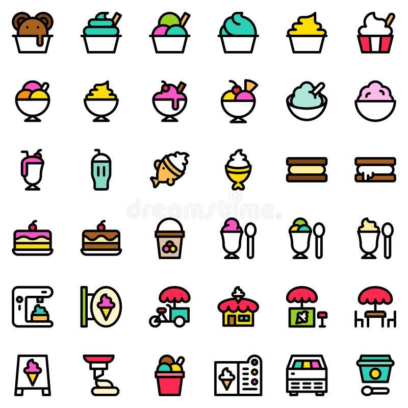 Lody ikony set, wypełniający editable kontur ilustracji