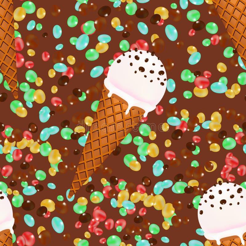 Lody konusuje bezszwowego deseniowego tło z cukierkami i czekoladą ilustracja wektor