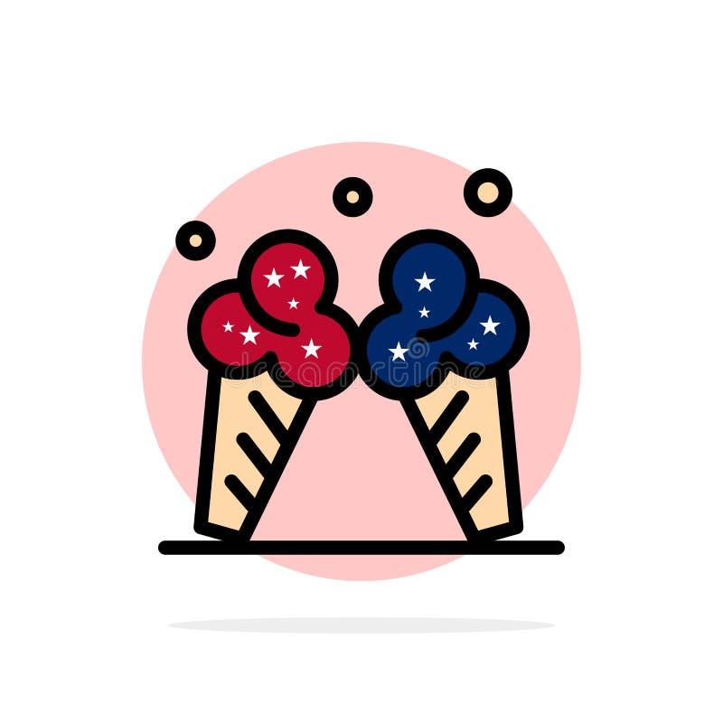 Lody, lód, śmietanka, Amerykańskiego Abstrakcjonistycznego okręgu tła koloru Płaska ikona ilustracja wektor