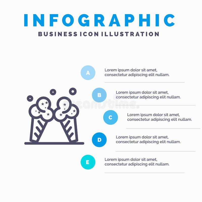Lody, lód, śmietanka, amerykanin Kreskowa ikona z 5 kroków prezentacji infographics tłem ilustracja wektor