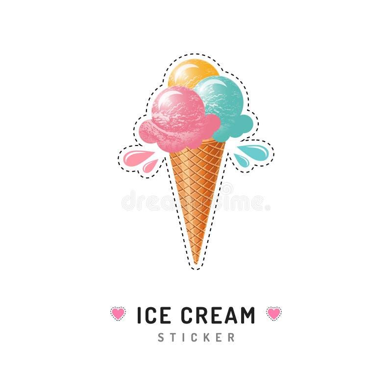 Lody majcher lub odznaka, lody szyszkowe ikony odizolowywać Modny 80s wystrzału sztuki projekt royalty ilustracja