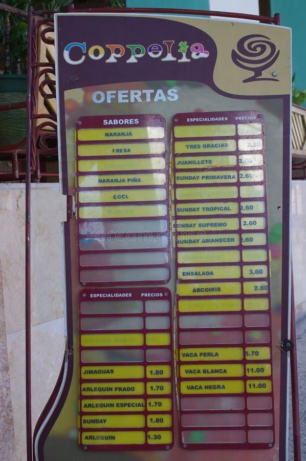 Lody menu w hiszpańszczyznach zdjęcie royalty free