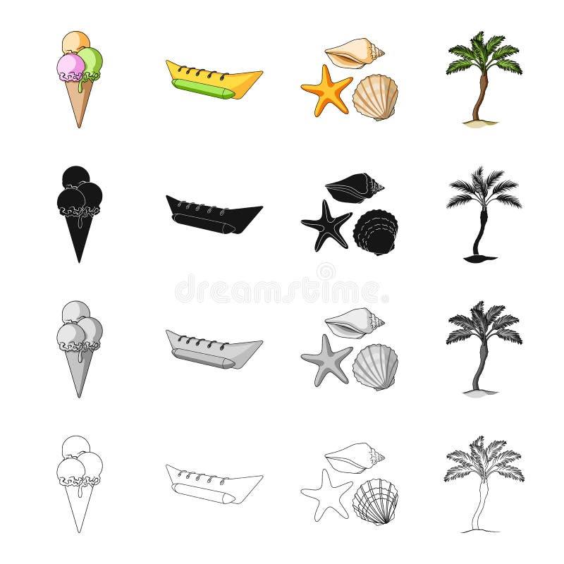 Lody, nadmuchiwana łódź dla odpoczynku, denni mollusks, palma Odpoczywa w lato ustalonych inkasowych ikonach w kreskówki czerni m royalty ilustracja