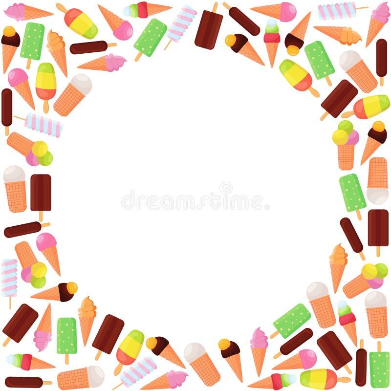 Lody ramowy tło Nabiał od śmietanki lub mleka, cukier Różnych smaków słodka smakowita funda dla dzieciaka wystroju ilustracja wektor