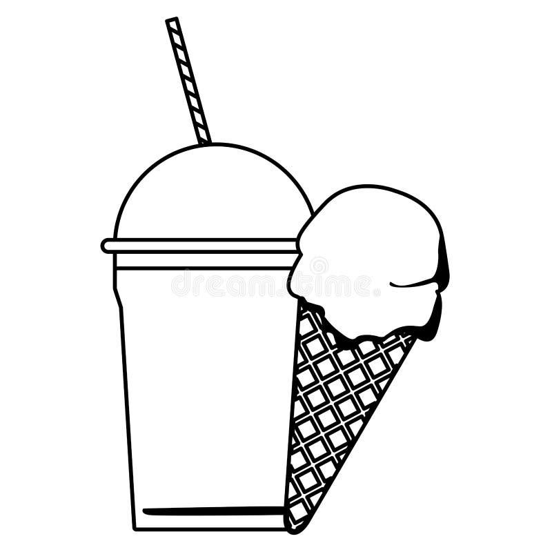 Lody rożek i marznący lód goliliśmy w czarny i biały ilustracji