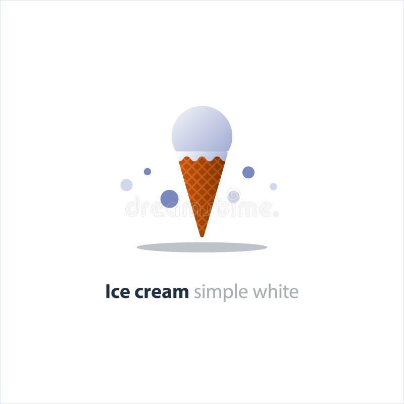 Lody rożek, jeden biała piłka, chłodno odświeżający deser ilustracja wektor