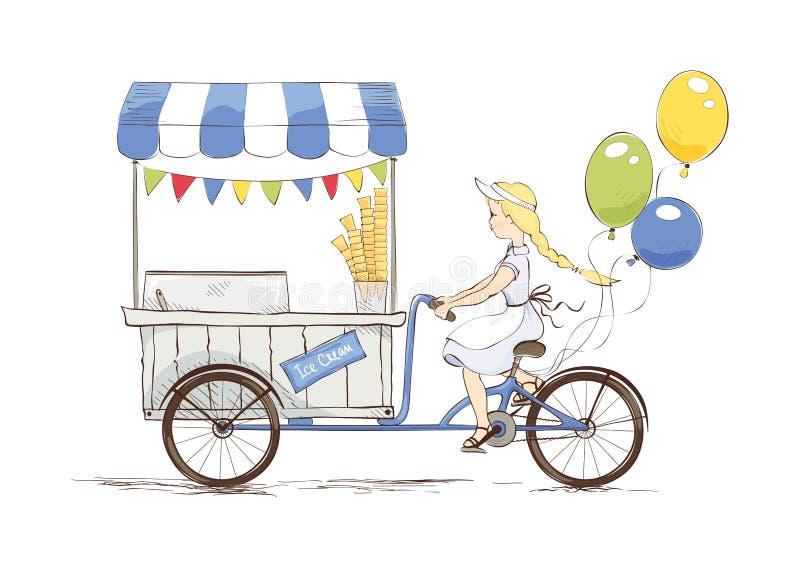 Lody sklep na bicyklu royalty ilustracja