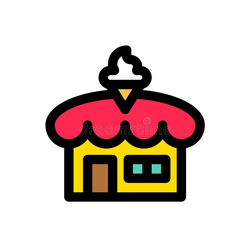 Lody sklepowy wektor, wypełniający ikona editable kontur ilustracji