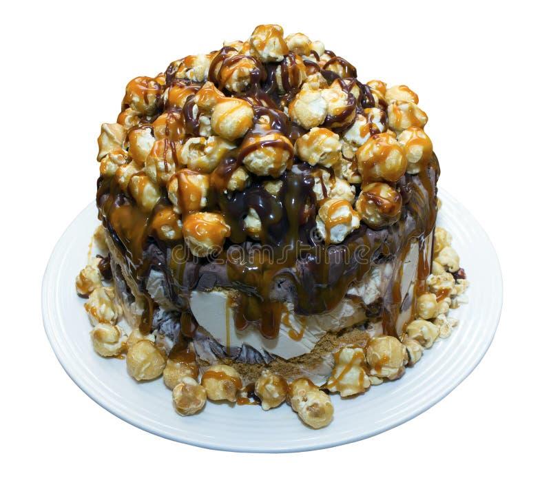 Lody tort Z popkornu i Toffee kumberlandem obrazy stock