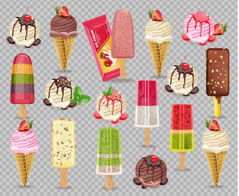 Lody ustalony inkasowy Wektorowy realistyczny Owoc, wanilii i czekolady smaki, Szczegółowe 3d ilustracje ilustracji