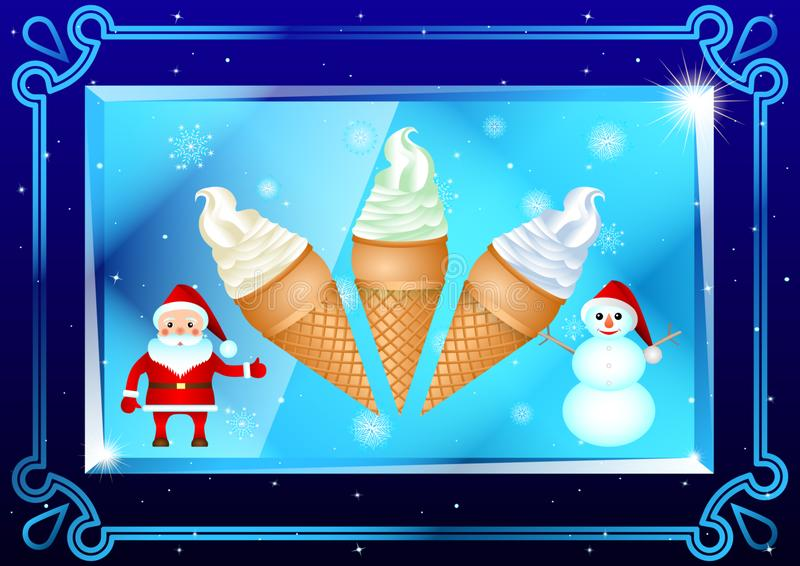 Lody w filiżankach, Święty Mikołaj i bałwanie w pięknej ramie na przejrzystym talerzu gofra, graniastosłup na zmroku - błękitny t ilustracji