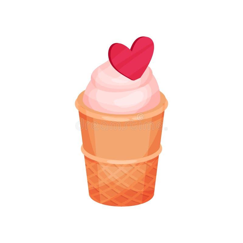 Lody w gofr filiżance z różowym sercem smaczny deser Słodki jedzenie Płaski wektor dla walentynki s dnia pocztówki royalty ilustracja