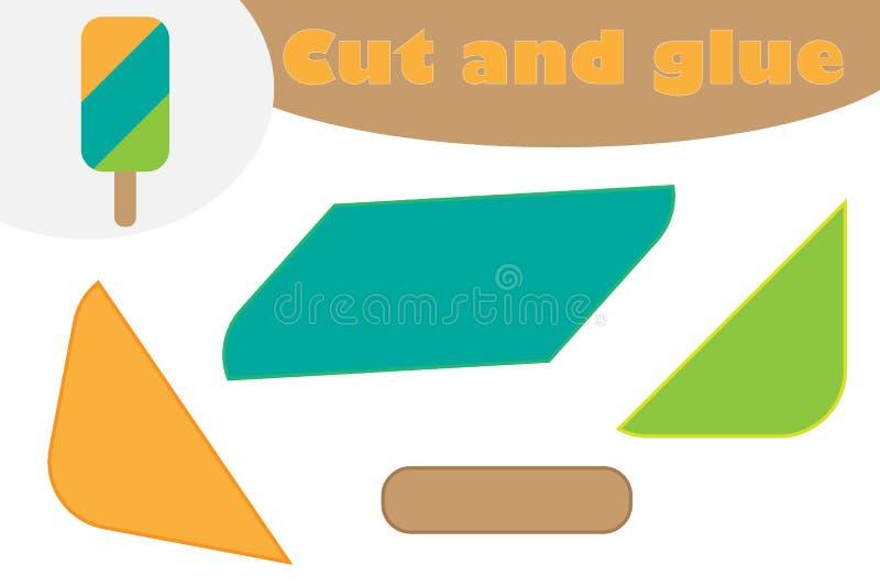 Lody w kreskówka stylu, edukacji gra dla rozwoju preschool dzieci, używa nożyce i kleidło tworzyć aplikację ilustracji