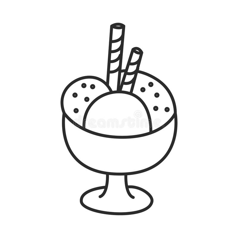 Lody w pucharze z opłatkowa wektorowa ręka rysującą kija doodle kreskową ilustracją ilustracja wektor