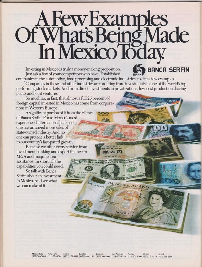 Poster advertising Banca Serfin in magazine from 1992, A few examples of what`s being made in Mexico today slogan stock images