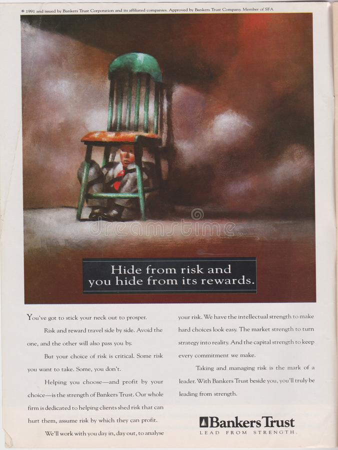 poster advertising Bankers Trust in magazine from 1992, Hide from risk and you hide from its rewards slogan stock photos
