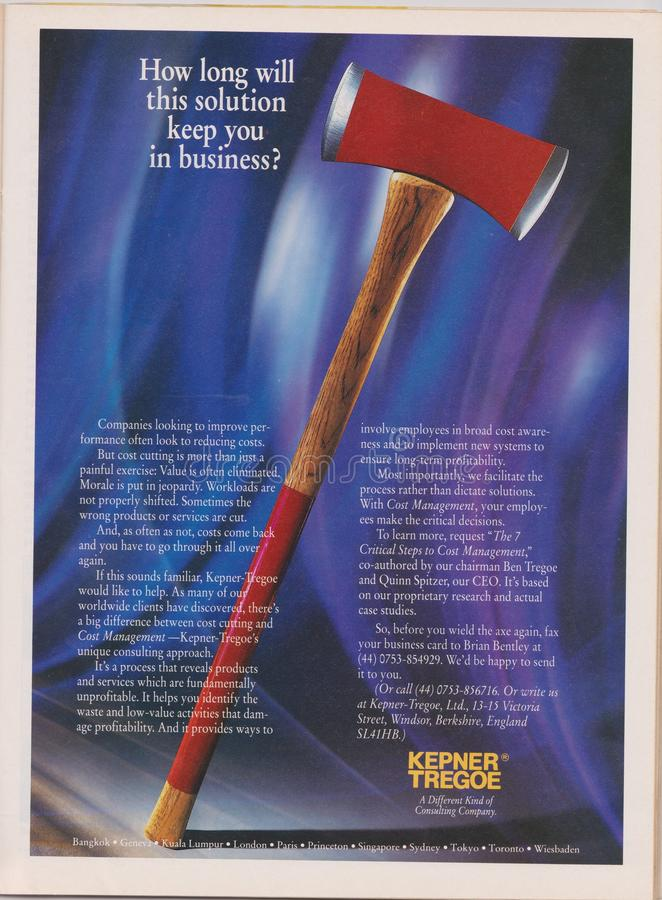 Poster advertising Kepner Tregoe in magazine from 1992, How long will this solution keep you in business? slogan. Lodz, Poland, April 13, 2019: ILLUSTRATIVE royalty free stock image