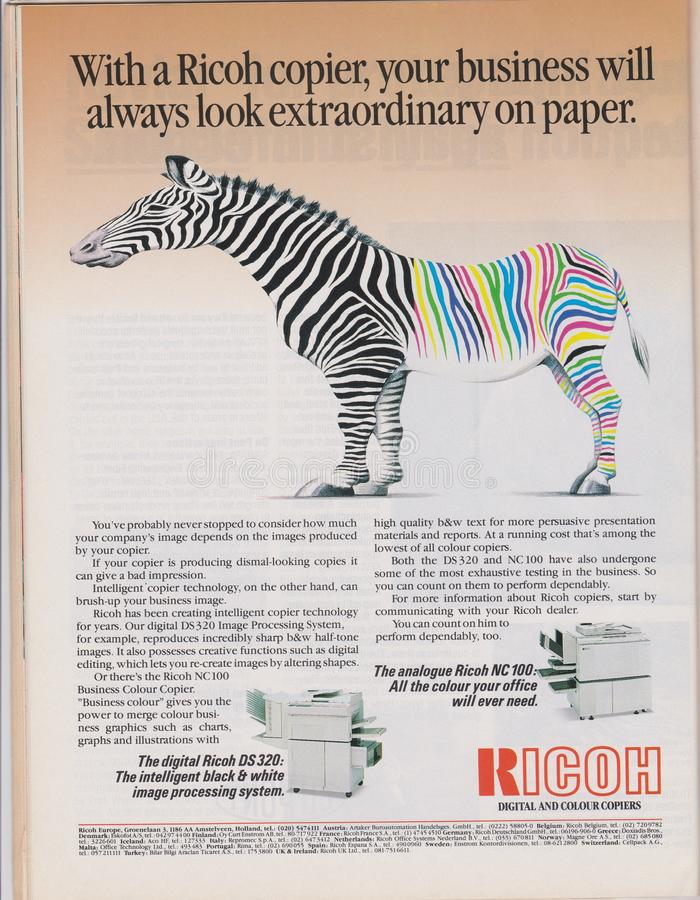 Poster advertising Ricoh digital and colour copiers machine in magazine from 1992 royalty free stock image