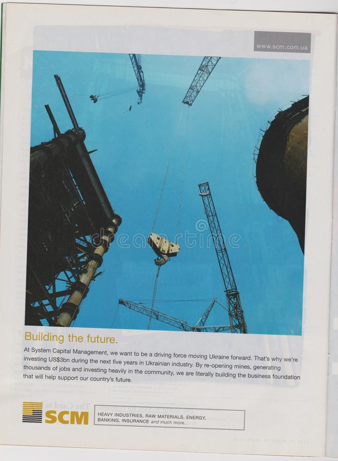 Poster advertising SCM company in magazine from 2005, Building the future slogan stock image
