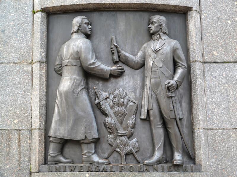 lodz poland En basrelief med Tadeuszs Kosciuskos bild Ett fragment av en monument av Kosciusko på Liberty Square arkivbild
