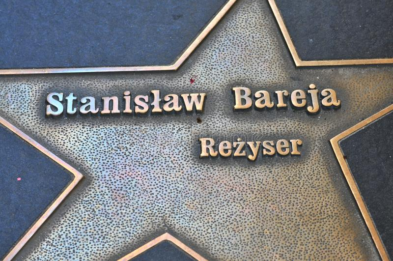 Lodz, Poland, July 2018. Star of movie director Stanislaw Bareja. At the Lodz Stars Avenue at Piotrkowska street in royalty free stock images