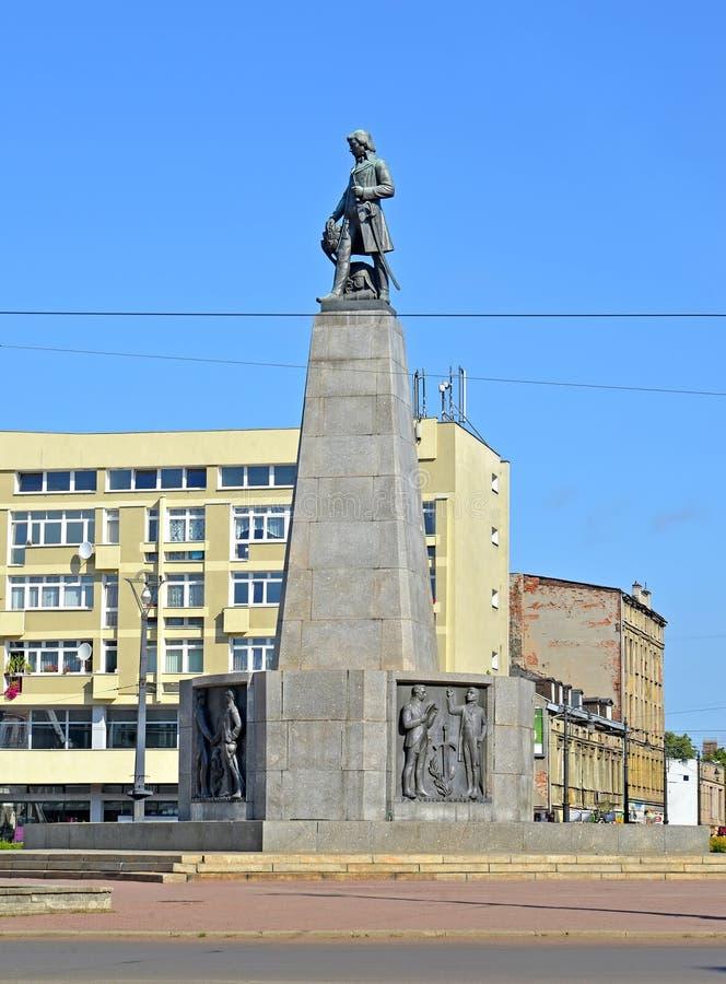 Lodz, Polen Een monument aan Tadeusz Kosciusko in Liberty Square stock fotografie