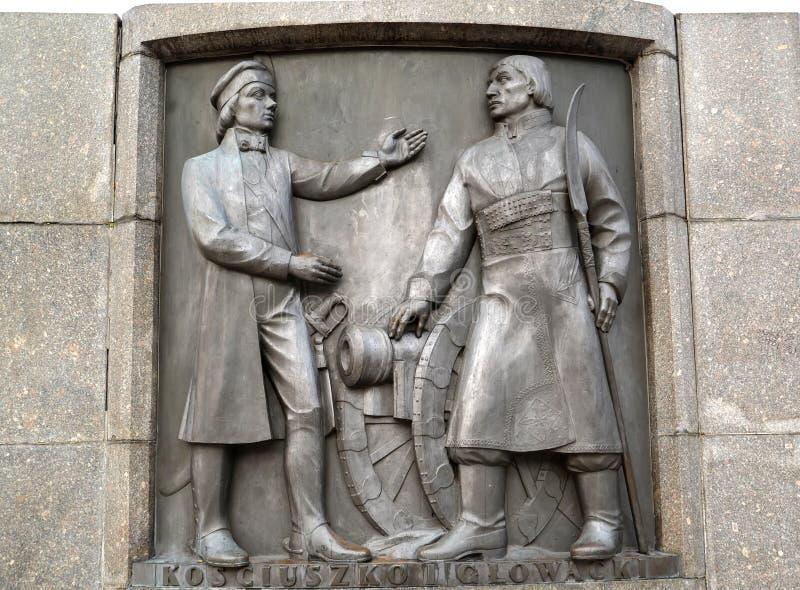 Lodz, Polonia Un bassorilievo con Tadeusz Kostyushko immagine dei Bartosz Glovatsky Frammento di un monumento di Kosciusko immagine stock