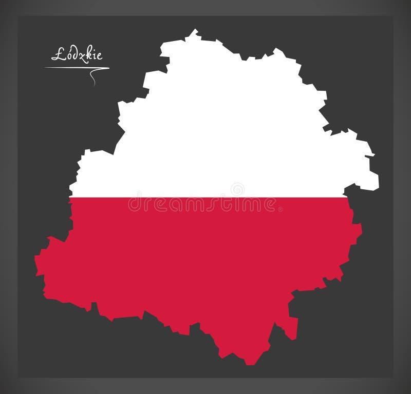 Lodzkie map of Poland with Polish national flag illustration. Lodzkie map of Poland with Polish national flag stock illustration
